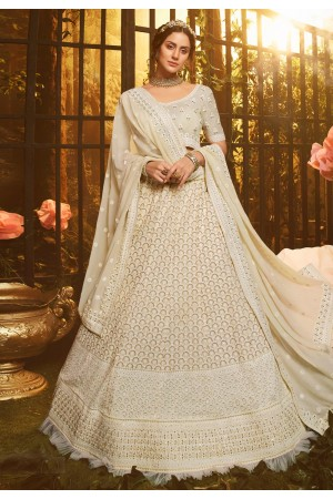 Off white georgette circular lehenga choli 3904