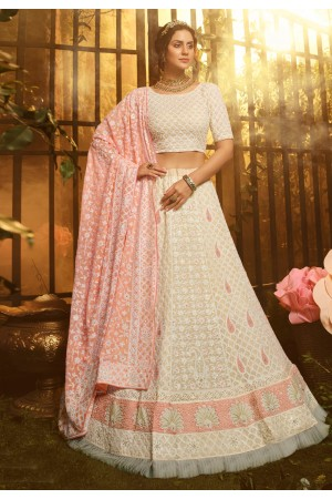 Off white georgette circular lehenga choli 3905