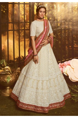 Off white georgette circular lehenga choli 3907
