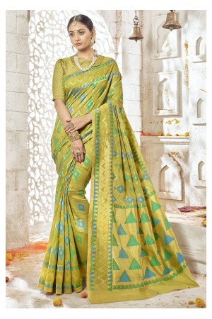 Green Colored Woven Art Silk Festive Saree 2202