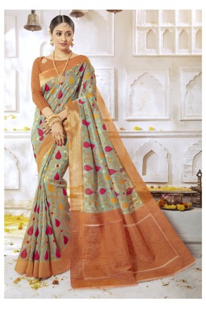 Green Colored Woven Art Silk Festive Saree 2210