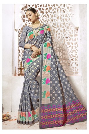 Grey Colored Woven Art Silk Officewear Saree 2204