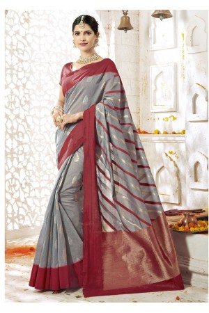 Grey Colored Woven Art Silk Officewear Saree 2208