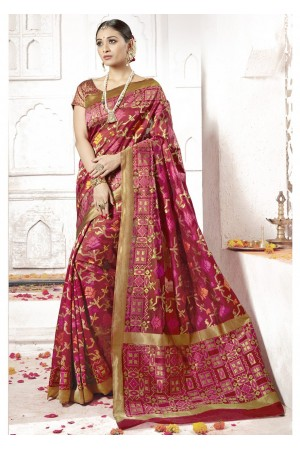 Maroon Colored Woven Art Silk Festive Saree 2205