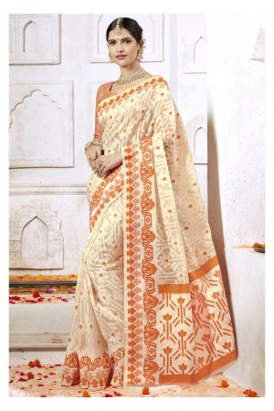 Off White Colored Woven Art Silk Festive Saree 2206