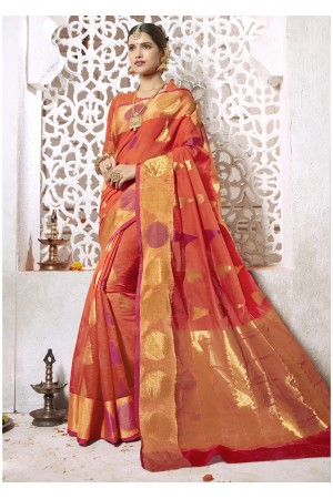 Orange Colored Woven Art Silk Festive Saree 2207