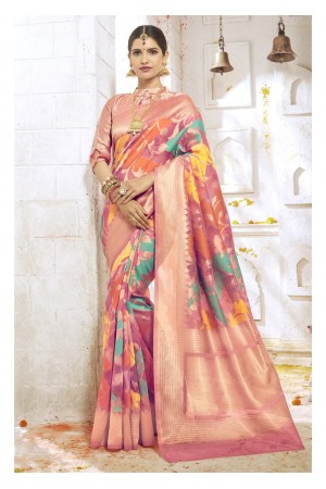 Peach Colored Woven Art Silk Festive Saree 2209