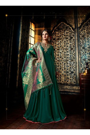 Bottle green color satin georgette wedding wear anarkali suit