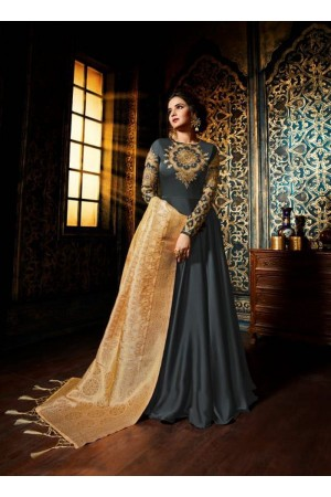 Grey color satin georgette wedding wear anarkali suit