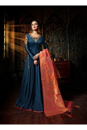 Navy blue color satin georgette wedding wear anarkali suit