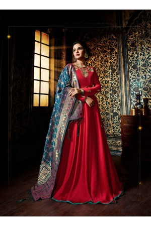 Red color satin georgette wedding wear anarkali suit