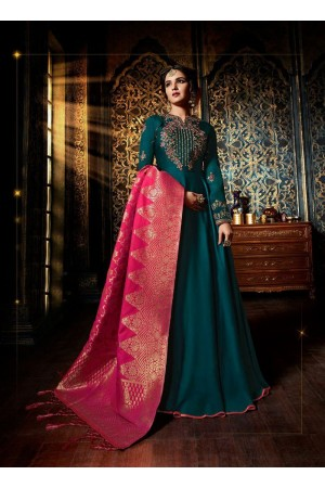 Teal green color satin georgette wedding wear anarkali suit