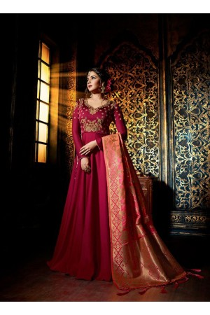 Wine color satin georgette wedding wear anarkali suit