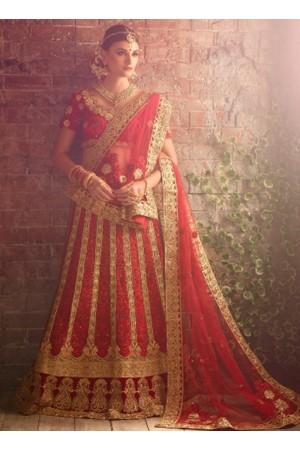 Red color net bridal lehenga choli