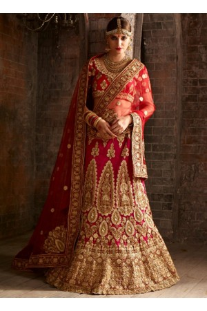 Red net bridal lehenga choli