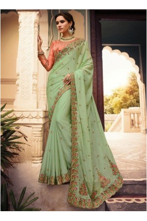 Fresh green Barfi silk Indian designer Saree