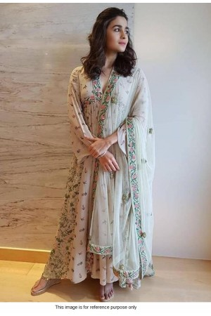 Bollywood Alia Bhatt Stone grey georgette anarkali