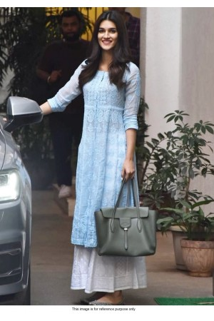 Bollywood Kriti sanon inspired blue and white kurta palazzo set