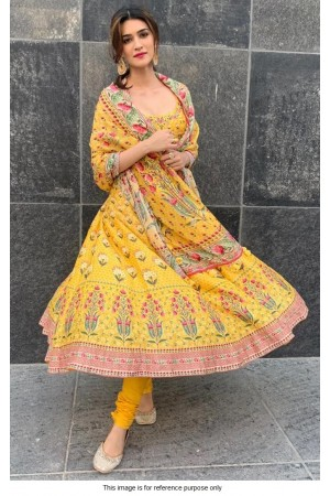 Bollywood Kriti Sanon Inspired Yellow crepe anarkali
