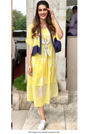 Bollywood Kriti Sanon yellow georgette Kurta