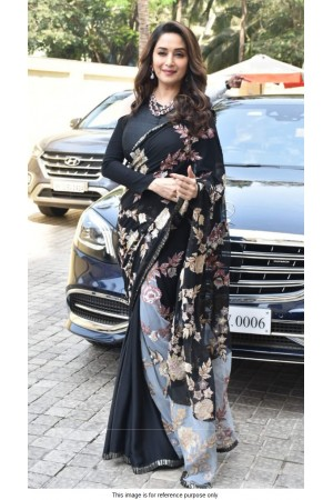 Bollywood madhuri Dixit inspired black georgette saree