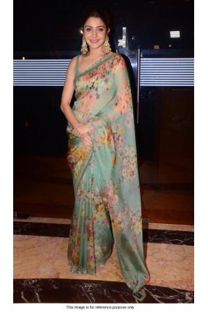 Bollywood Sabyasachi Inspired Anushka sharma mint green organza saree