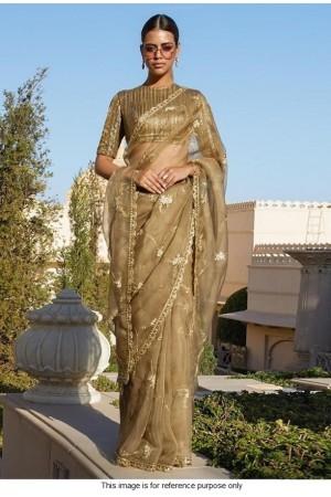 Bollywood Sabyasachi Inspired Beige organza silk saree