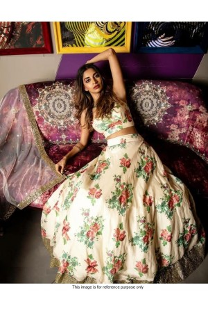 Bollywood model cream floral sequins lehenga choli