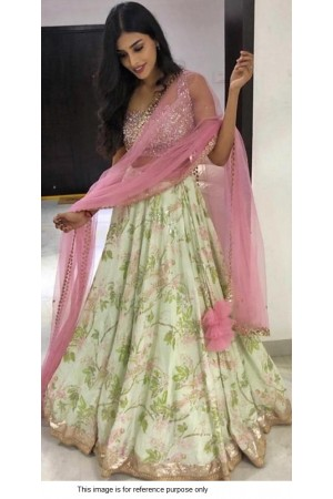 Bollywood Model Light green and Pink Banarasi satin lehenga