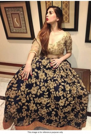 Bollywood Model Navy blue and beige silk lehenga