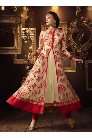 Cream and red color netted party wear anarkali suit