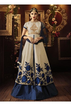 Silver color khadi silk and tafeeta silk  party wear lehenga
