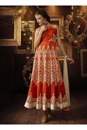 Orange color tafeeta silk party wear anarkali suit
