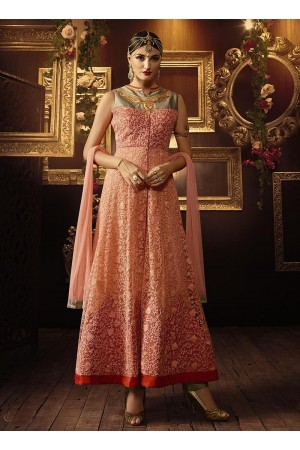 Orange and beige color taffeta silk and net party wear anarkali suit