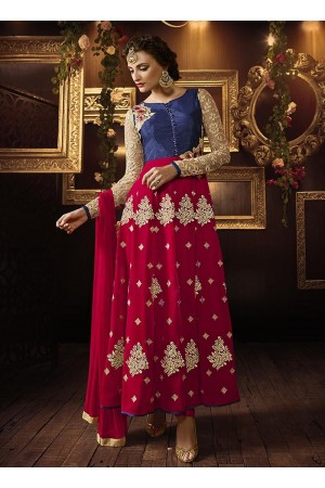 Red color pure silk party wear anarkali suit