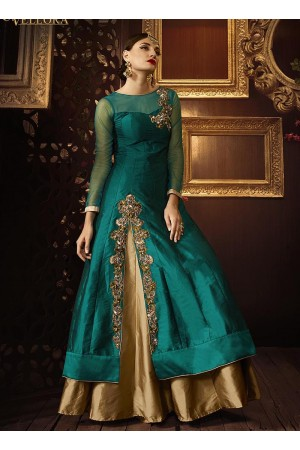 Teal green color taffeta silk party wear lehenga