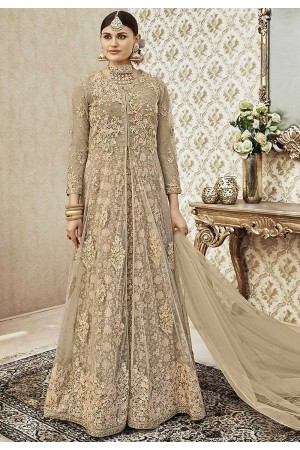 Beige color net wedding anarkali 4402