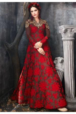 Brown red silk wedding anarkali 7015