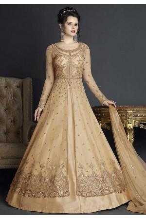 Cream net wedding ghagra choli style 10005