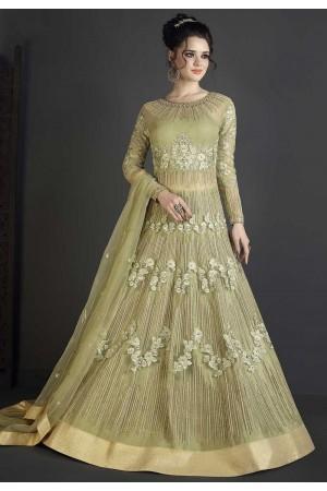 Fresh green net wedding ghagra choli style 10006