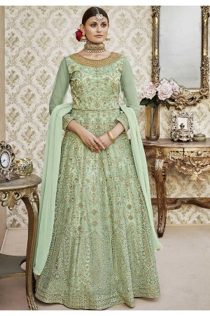 Green color net wedding anarkali 4408