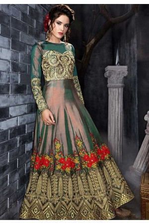 Green silk wedding anarkali 7012