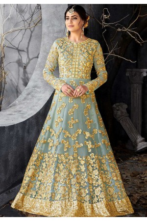Grey color net wedding anarkali 7016