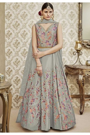 Grey color tapetta silk wedding wear anarkali 4403