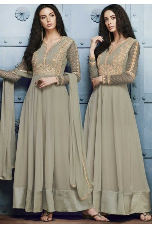Grey georgette straight cut salwar 1040A