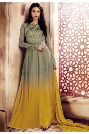 Grey yellow shaded georgette straight cut salwar 1043B