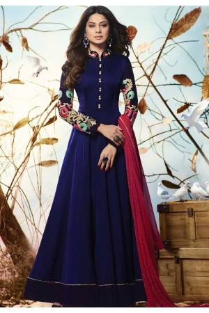 Jennifer Winget blue georgette party wear anarkali 1127