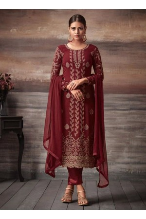 Maroon color georgette straight cut salwar kameez 48001