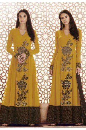 Mustard brown georgette straight cut salwar 1039B