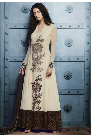 Off white brown georgette straight cut salwar 1039A